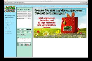 Mit dem andypage-Designer haben Sie die Möglichkeit, direkt im andyscreen-Portal andypages zu erstellen und zu verändern.
